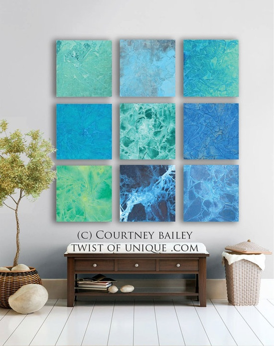 Water Abstract Painting 9 square ORIGINAL by TwistOfUnique on Etsy,
