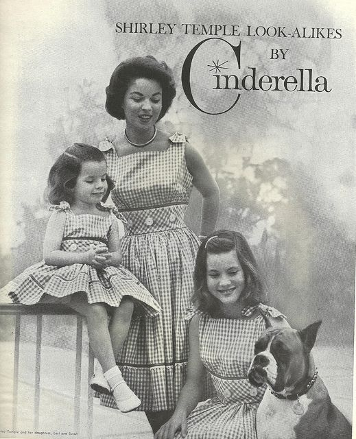 Adorable 1950s Shirley Temple matching Cinderella sets for mother and daughter. #vintage #1950s #fashion #dresses