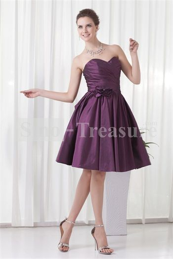 Purple Handmade Flower Knee-Length Sleeveless Bridesmaid Dresses
