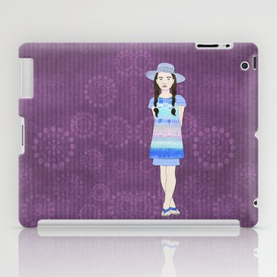 Natalia iPad Case by Aquamarine Studio - $60.00 Girl, Hispanic,  youth, pre-teen, fashion, illustration, fashion design, maiden, female, person, virgin, model, dress, shoes, clothes, apparel, outfit, wardrobe, attire, clothing, pose, summer, digital, paper, collage