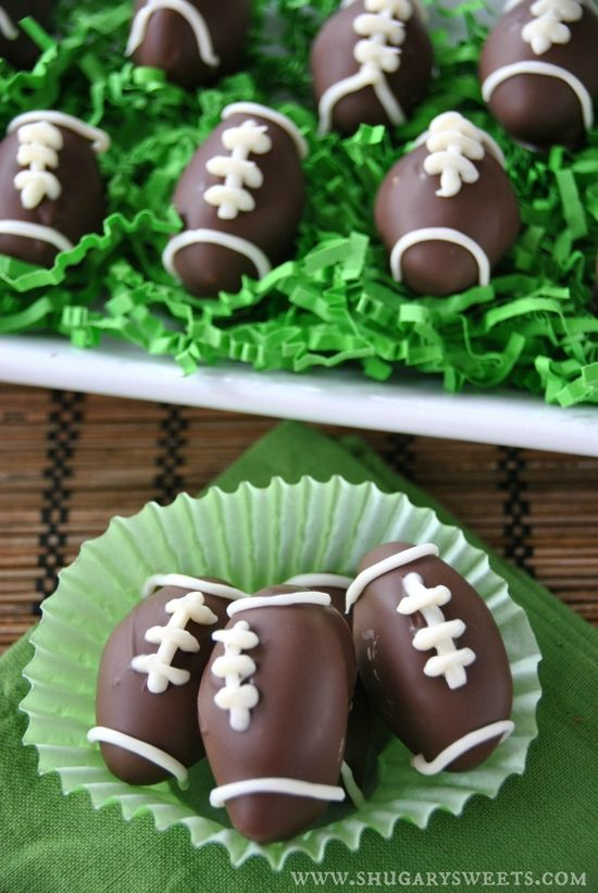 Making these mini mint footballs for Sunday's game! Homemade Peppermint Patties #gameday #SuperBowl #food #recipe