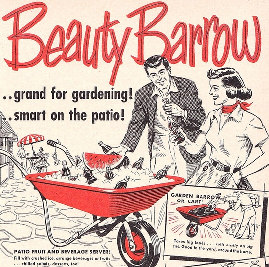 Beauty Barrow...grand for gardening, smart on patio! #vintage #ad #1950s #bbq #entertaining