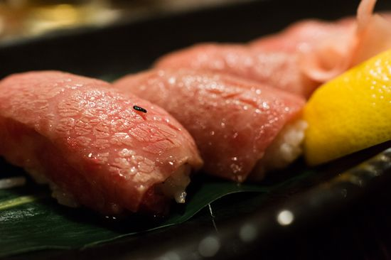 Shimofuri Kobe-Gyu no Nigiri-Zushi or Kobe beef nigiri sushi.