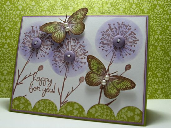 handmade card ... butterflies and flowers ... luv these flowers  ... stamped in brown ... negative space circle used as stensil to sponge on the purple ink ... topped with a button with thread ...