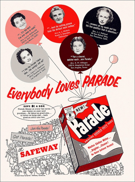 Parade Laundry Soap Ad, 1953 - everyone loves parade! #vintage #1950s #laundry #ads #homemaker