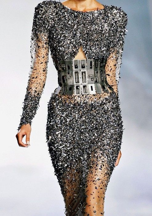 ~~ silver bejeweled dress and fantastic belted waist ~~