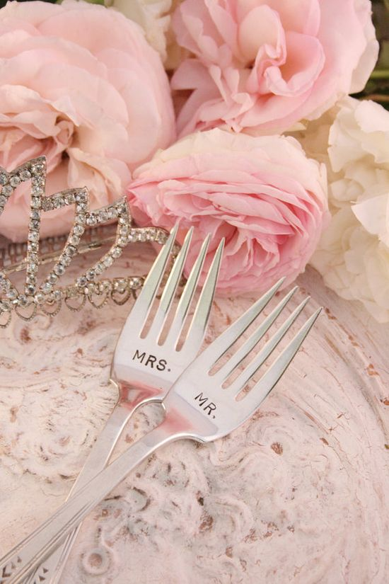 How Cute!! Antique Mr and Mrs Wedding Cake forks hand stamped for the Bride and Groom silver plate flatware Friendship 1932
