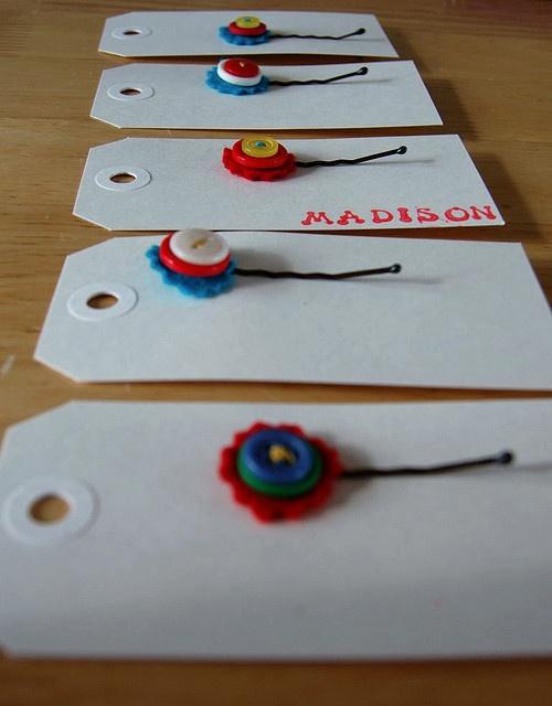 girl favor: handmade button clips