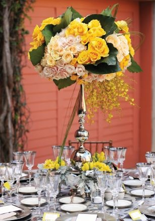 yellow reception wedding flowers,  wedding decor, yellow wedding flower centerpiece, yellow wedding flower arrangement, add pic source on comment and we will update it. www.myfloweraffai...