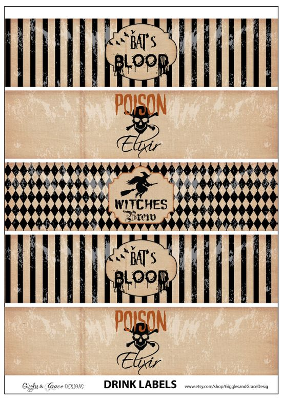 Free Halloween water bottle labels #free #halloween #printable #labels