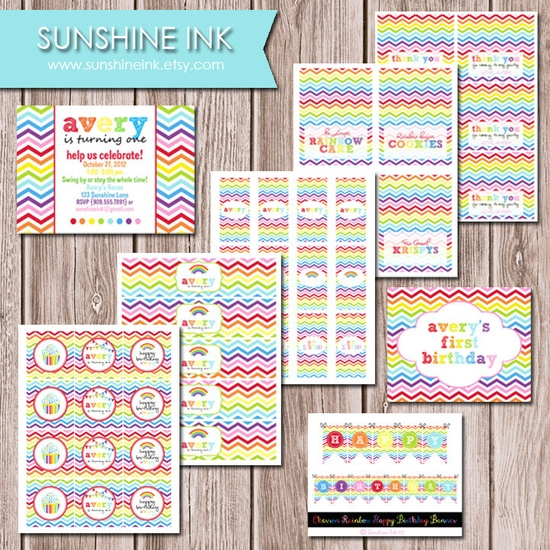 Rainbow Chevron Total DIY Birthday Party Package. $32.00, via Etsy.
