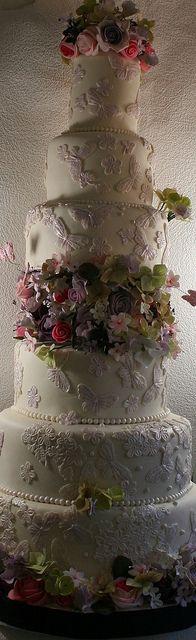 6 tier lace cake by elizabethscakeemporium, via Flickr
