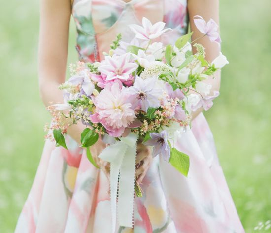 Pastel floral print bridesmaids dress + #Pastel #bouquets … Wedding #ideas for brides, grooms, parents & planners itunes.apple.com/... … plus how to organise an entire wedding, within ANY budget ? The Gold Wedding Planner iPhone #App ? For more inspiration pinterest.com/... #bridesmaids #bridal #bouquets #wedding #flowers