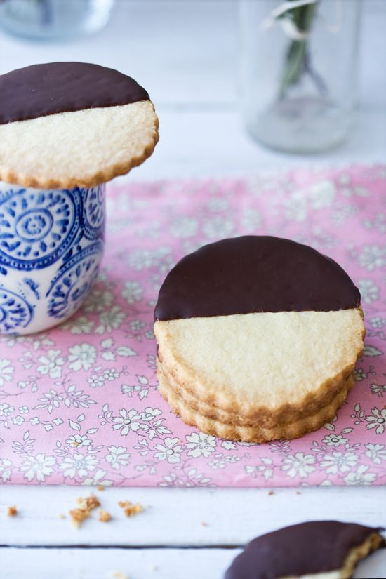 Gluten-free chocolate-dipped shortbread cookies