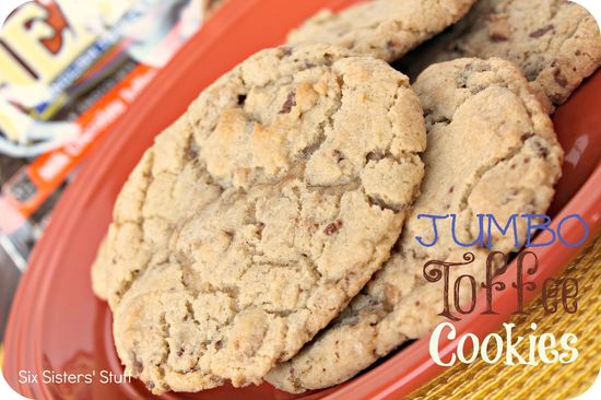 Jumbo Toffee Cookies from sixsistersstuff.com.  These taste like the big, chewy cookies you buy at a bakery! #recipes #cookies #toffee
