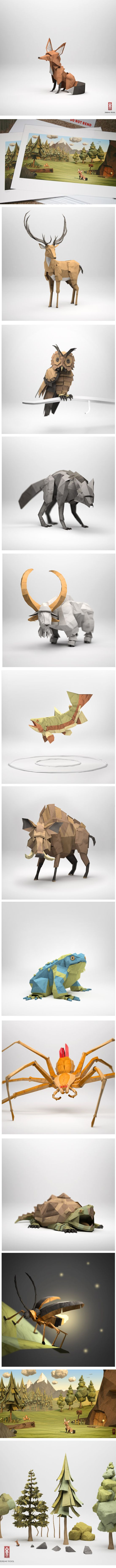 3D lowpoly - paper sculpture