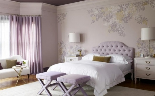 Teen bedroom design idea in purple color scheme home decorating