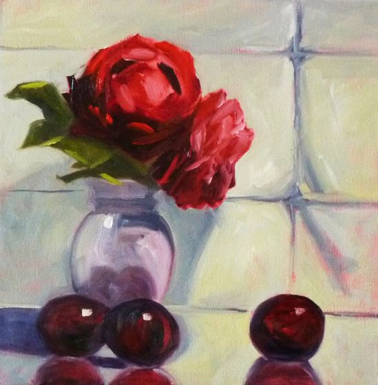 Still Life Oil Painting Original Red Rose by smallimpressions, $150.00
