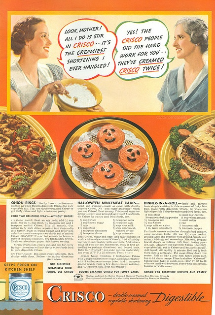 Love (!) this fantastic, vibrantly hued Halloween themed recipe ad for Crisco from 1936. #ad #Halloween #retro #1930s #recipes #food #cooking #shortening #Crisco #thirties #Halloween #cupcakes #mincemeat #cake #pie #onion #rings