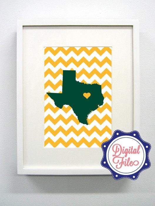 Baylor Texas Green and Gold Digital Print -  Sic em Bears. $6.00, via Etsy.