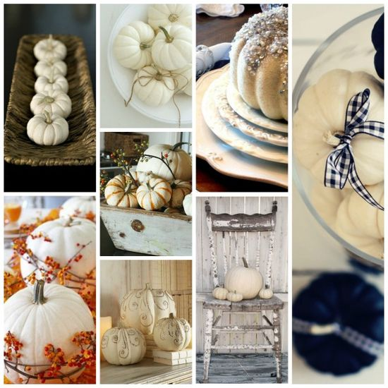 home decor: white pumpkins for fall