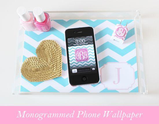 monogram phone wallpaper Dress Your Tech: Chevron Monogrammed Phone Wallpaper