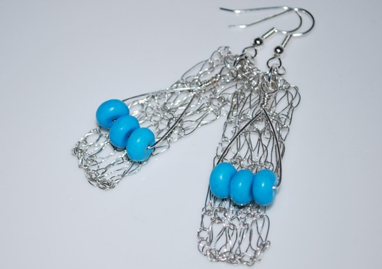 Tri-rondelle Turquoise on Crochet Wire Earrings, Crochet Wire Jewelry. $26.00, via Etsy.
