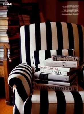 A striped chair & coffee table books? Yes #decoracao de casas #hotel interior design #home interior decorators