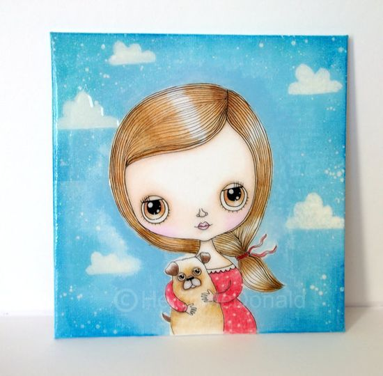 Pug Dog and Cute Girl Original Painting by LittleNore on Etsy, 25.00