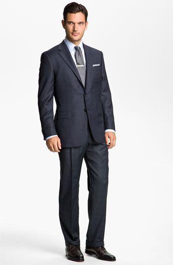 Hickey Freeman Windowpane suit and Armani shirt