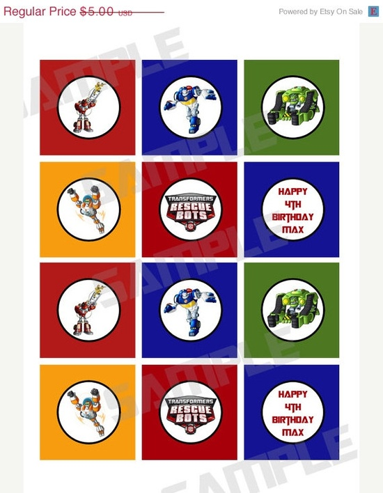 ON SALE 25% OFF Transformers Rescue bots birthday party cupcake toppers. $3.75, via Etsy.