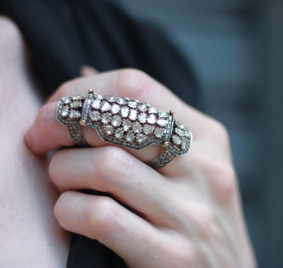Ring with rose cut diamonds.