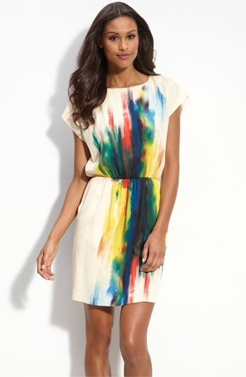 ECI Print Charmeuse Blouson Dress