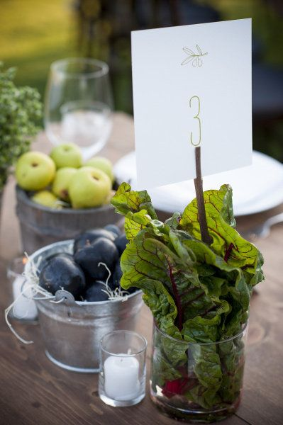 Gorgeous food centerpieces at a rehearsal dinner in Napa // from Style Me Pretty  @kristin McCarthy totally up your alley