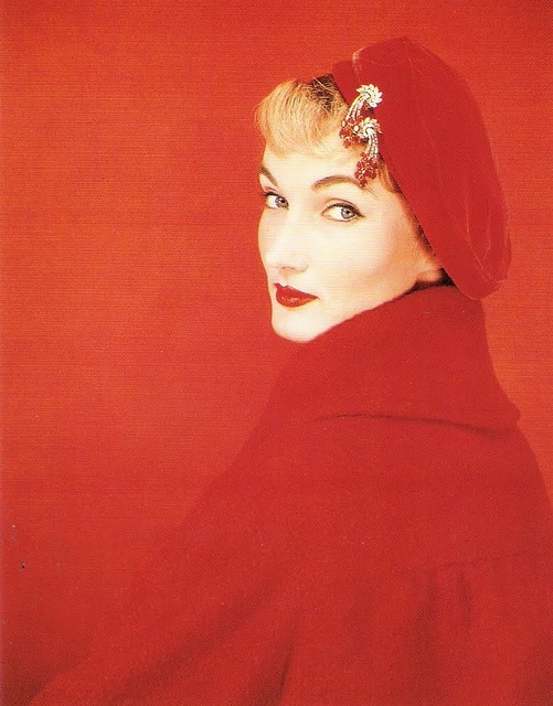Fiery red mid-50s fashion. #coat #hat #vintage #1950s #fashion hat