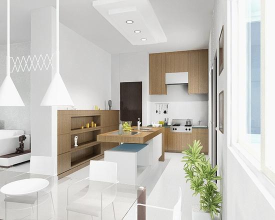 White kitchen interiors at Godrej Garden City, Gujarat infuse positivity.
