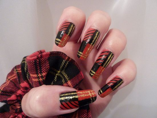 Tartan Christmas Xmas Nail Art Design On Natural Real Long Nails by englishroseamongthorns, via Flickr