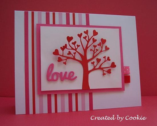 "handmade Valentine card ... luv the die cut heart tree (Taylored Expressions) and script ""love"" ... clean design ... delightful card!!"