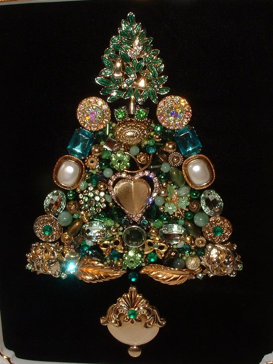 Vintage Jewelry Green & Gold Partridge in a Pear Tree Framed Jeweled Christmas Tree. $125.00, via Etsy.