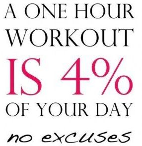 A one hour workout is 4% of your day - NO EXCUSES