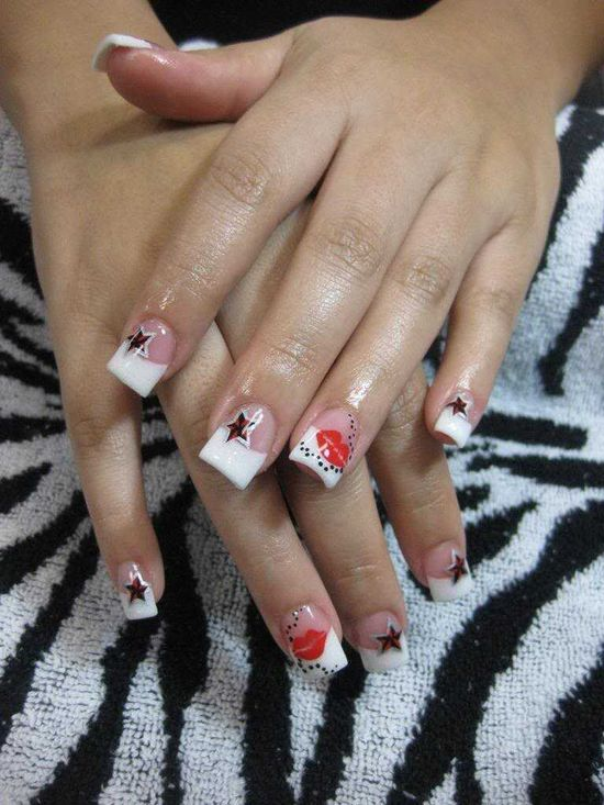 Tattoo Stars and Lips Nail Art - NAILS Magazine