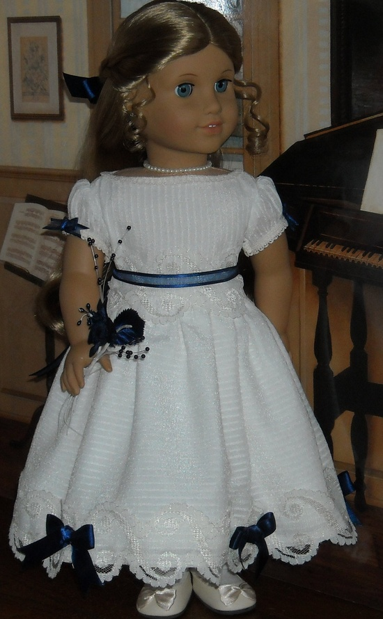 1850 Winter White Party Dress for 18 inch dolls like Marie Grace. $95.00, via Etsy.