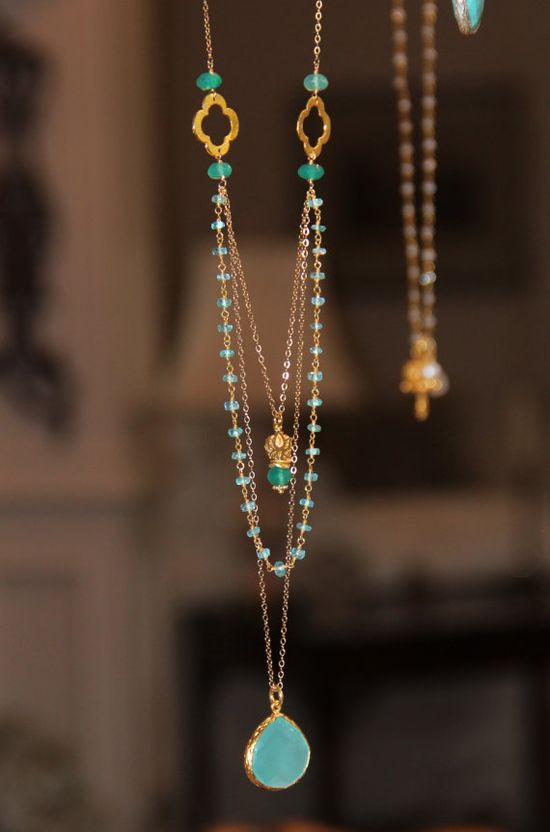 Long Multi Layer Necklace, Wire Wrapped Apatite w Pantone Emerald Green Onyx, Yoga Lotus Flower, Quatrefoils, Aqua Emerald Delicate Layering