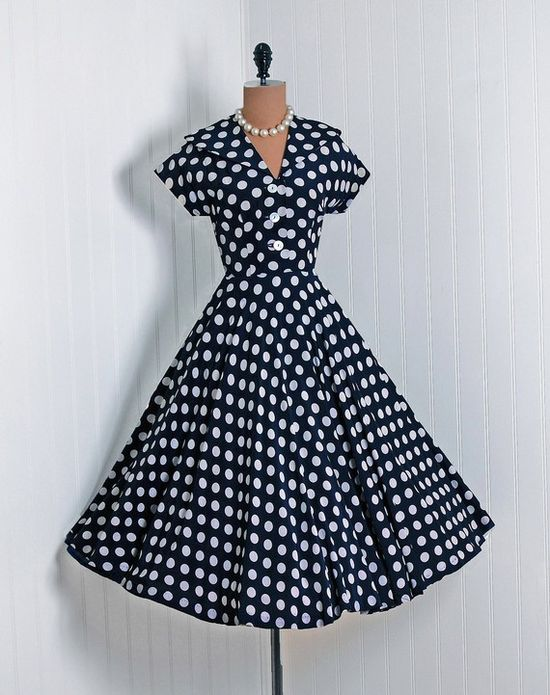 1950's navy and white polka dot dress.
