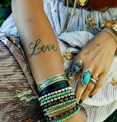 Turquoise jewelry and tattoo