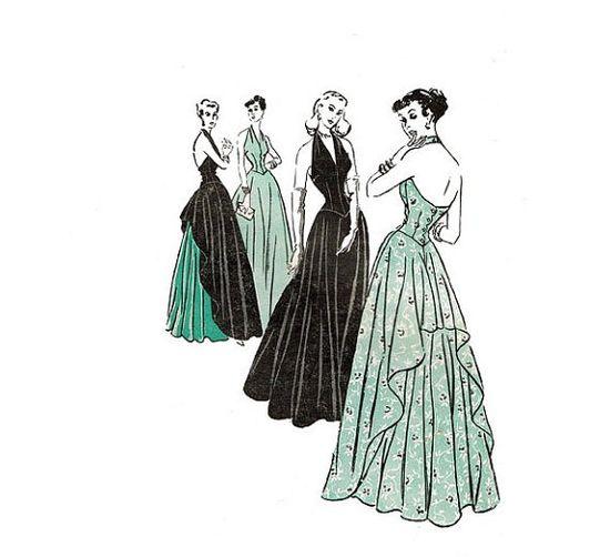 1940s Halter Evening Dress Butterick 4697 by JFerrariDesigns, $145.00