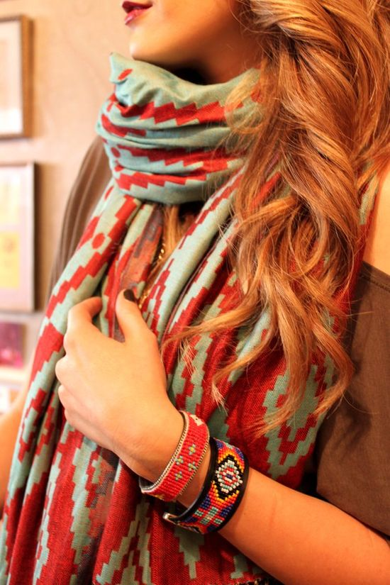 Red and turquoise scarf