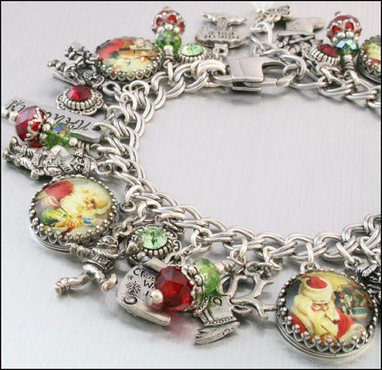 Christmas Charm Bracelet Silver Charm by BlackberryDesigns on Etsy, $123.00