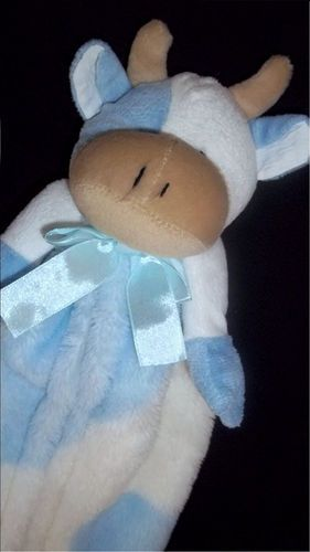 Cutie Pie Blue White Cow Bull Buddy Baby Boy Plush Security Blanket