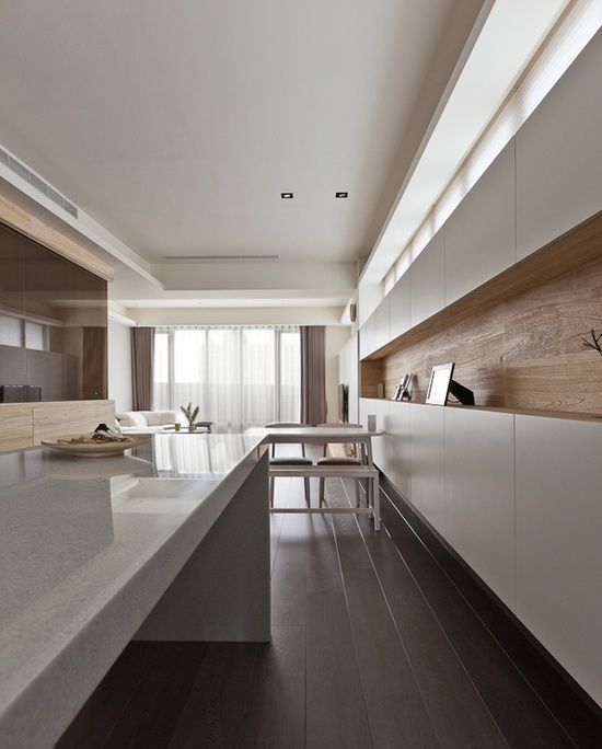 *kitchen design, modern interiors, furniture, white and wood*. via elle design studio